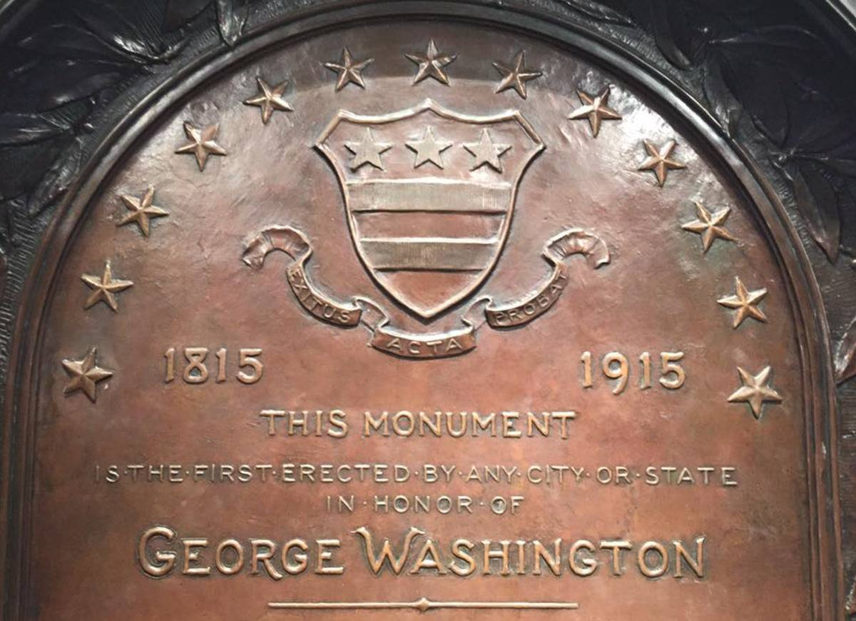 The 1915 plaque on the Washington Monument reads,