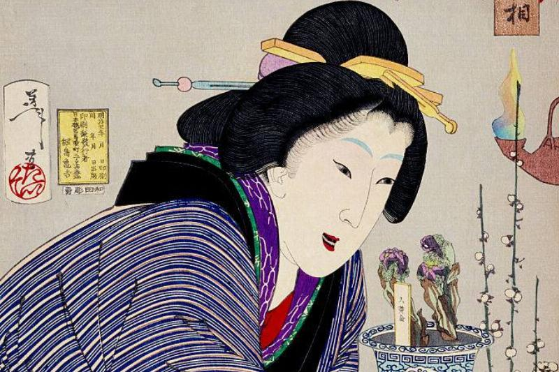 A woman described as a proprietress of the Kaei era with black teeth