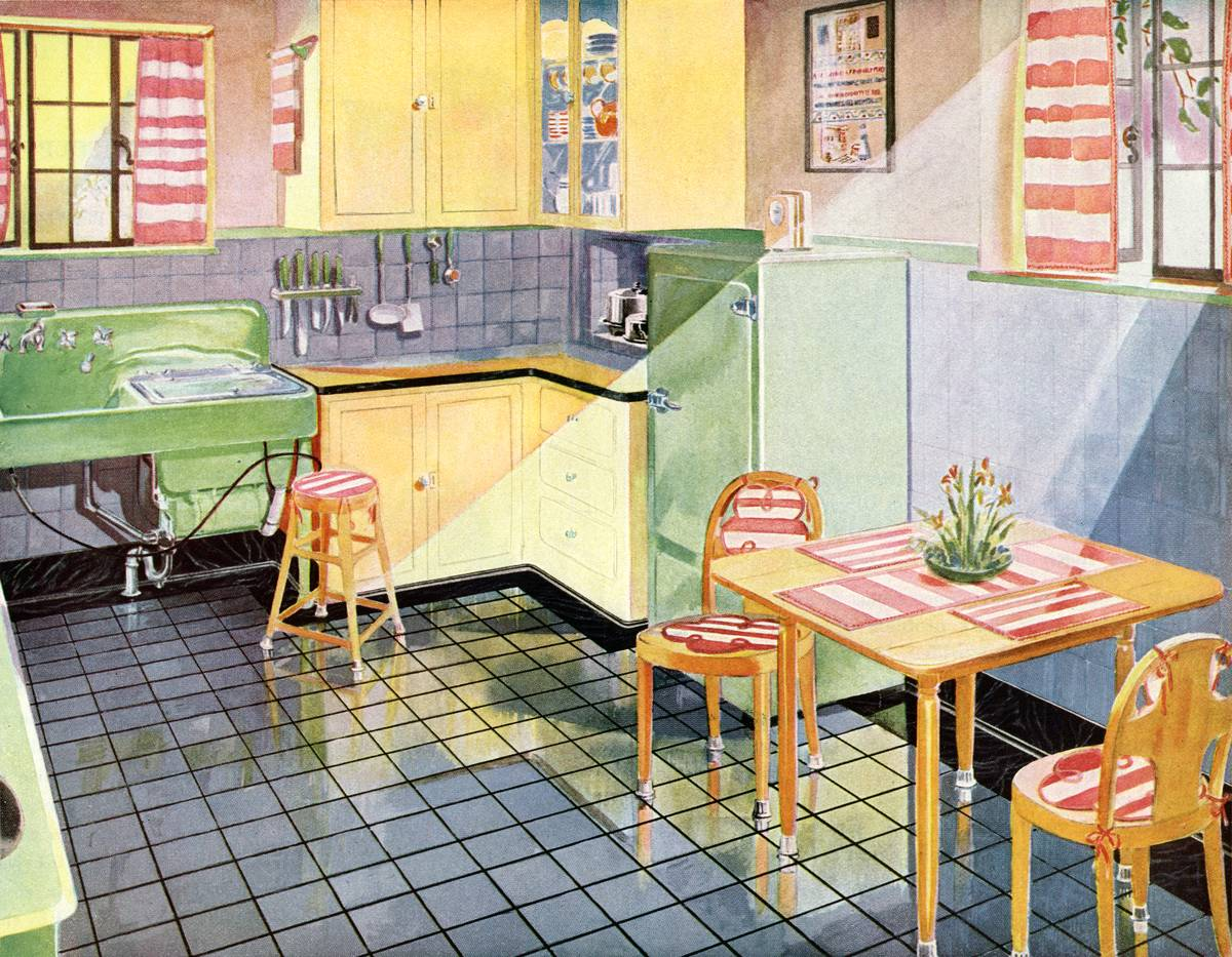 A vintage illustration shows a sunny kitchen from 1925.