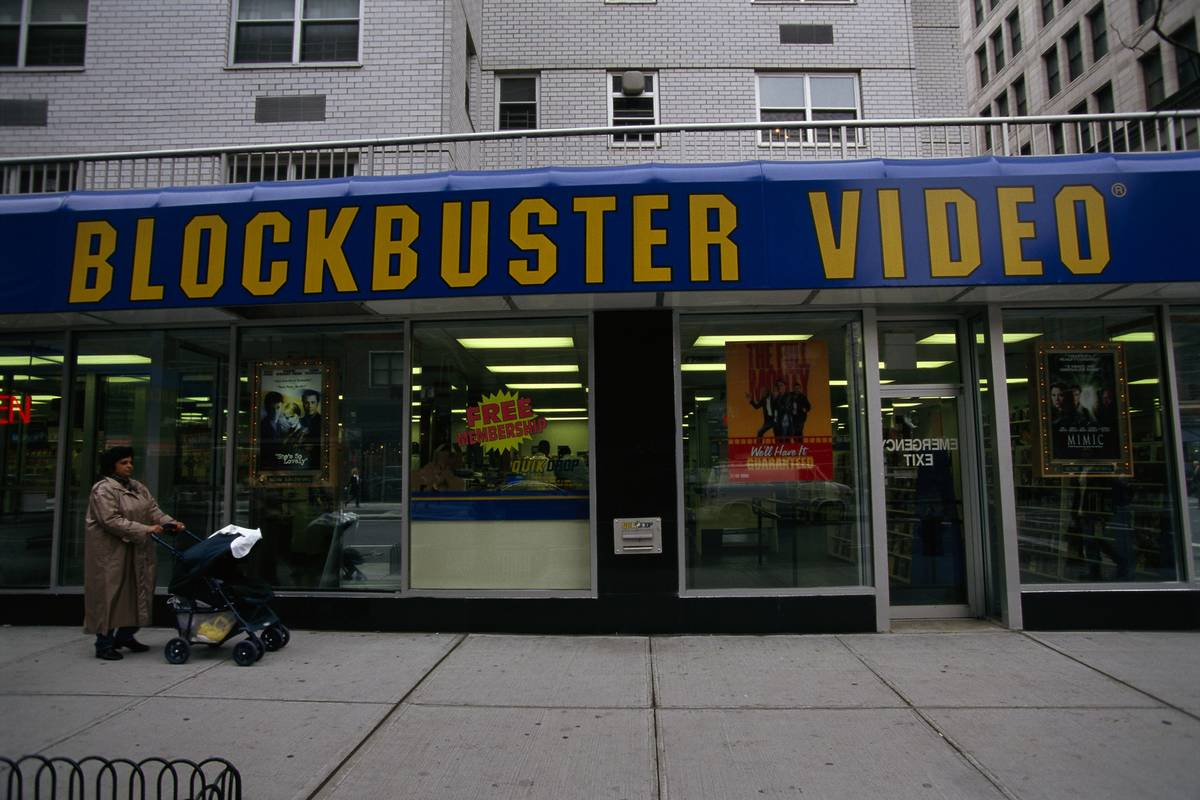 Entrance to Blockbuster Video Store