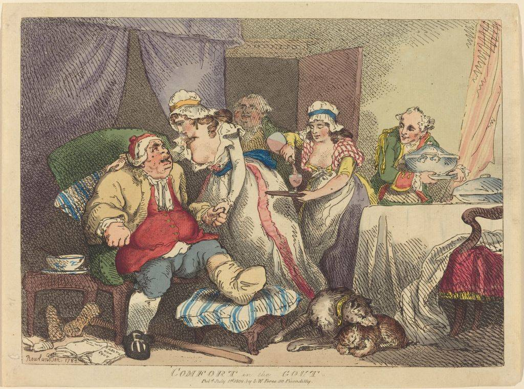 an obese man with gout with his servants