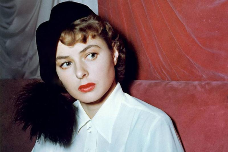 Ingrid Bergman in a white blouse and black hat in 1945