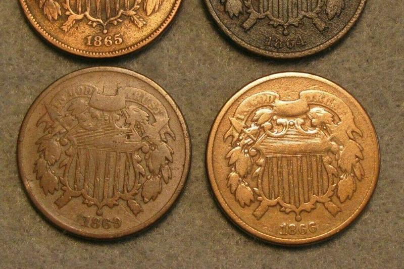 Coins from the 1860s feature