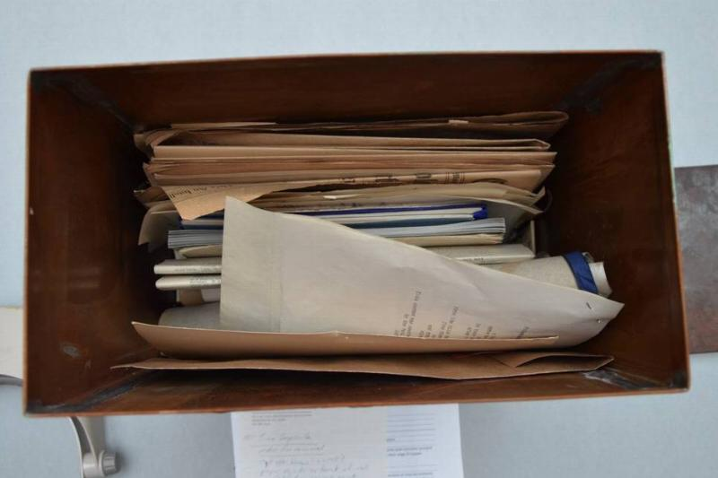 A photo shows the first glimpse inside the 1915 time capsule.