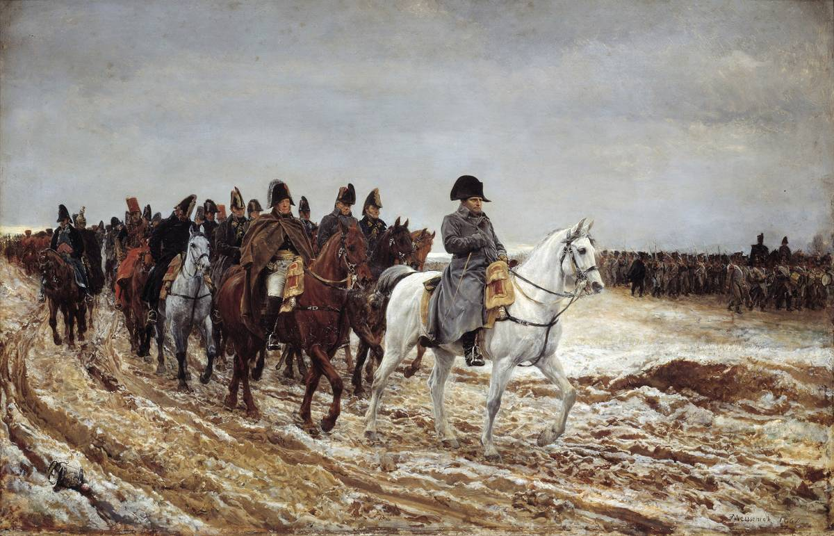 In this painting from 1891, Napoleon leads a squadron of French soldiers on horseback.