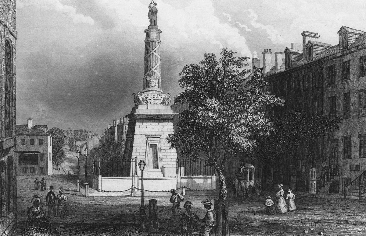 The Washington Monument is seen in Baltimore, 1850 engraving.