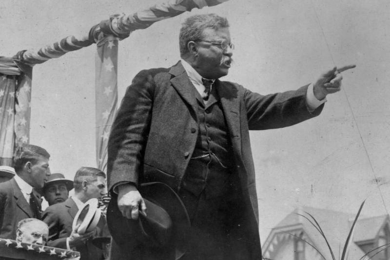 Theodore Roosevelt points as he gives a speech during his presidential campaign.