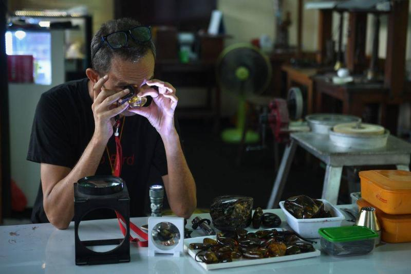 a man taking a close look at an amber fossil