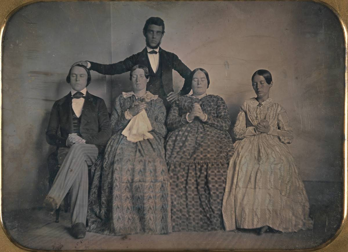 A photo depicts a hypnotist and patients, 1845.