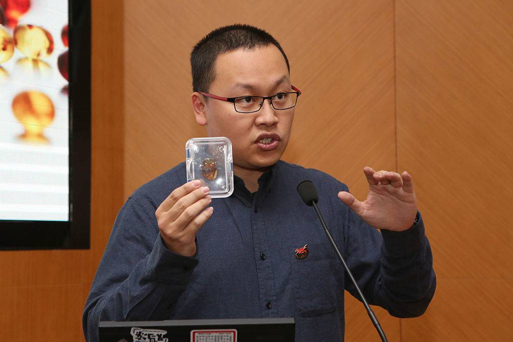 Xing Lida holding his amber fossil