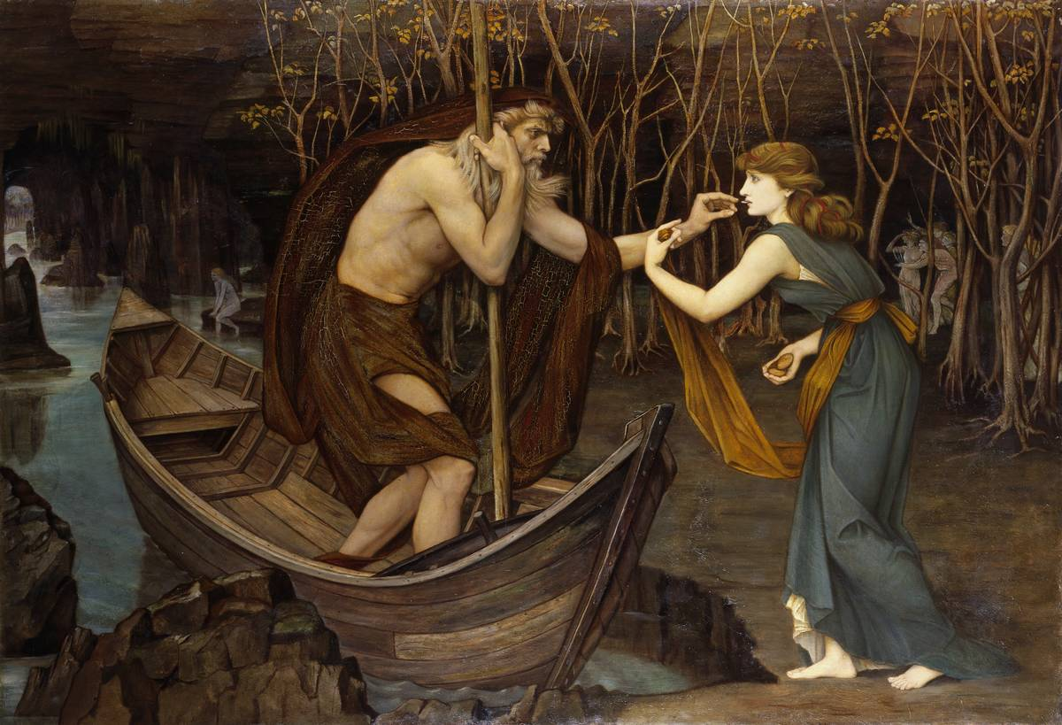 In this painting, Charon speaks to Psyche from his boat.