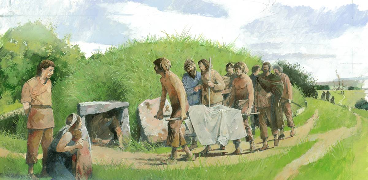 This drawing shows a funerary procession during the Stone Age.