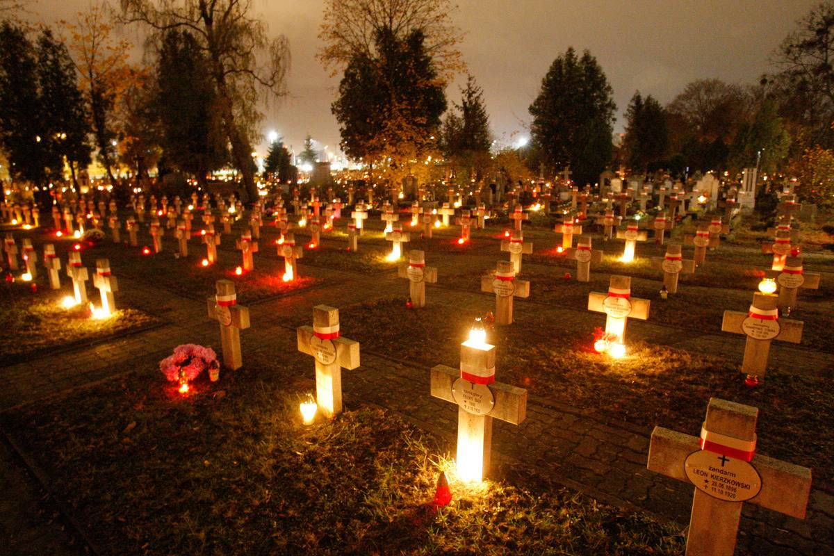 A cemetery in Poland lites its graves during a vigil of All Souls.