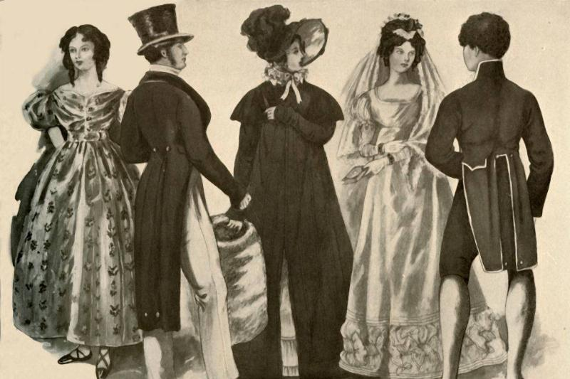 illustration of people dressed in clothes from the georgian era
