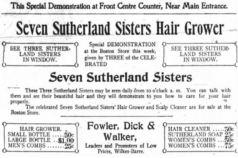 newspaper ad for seven sutherland sisters hair grower