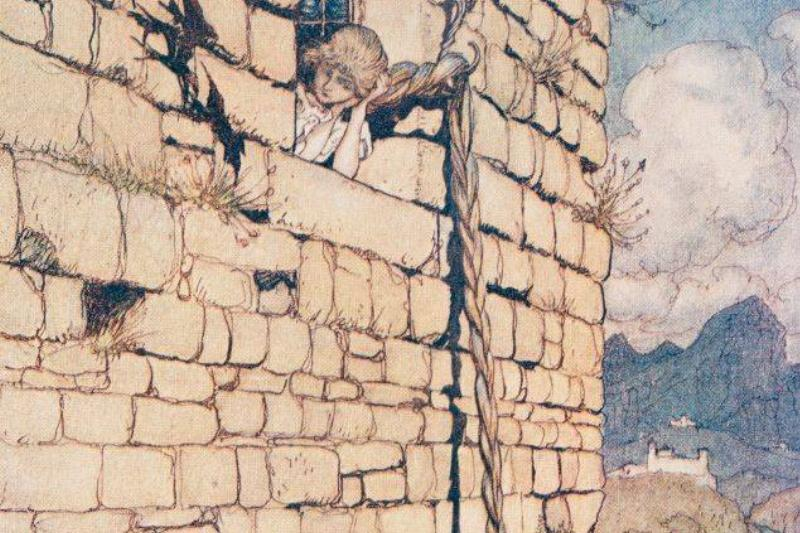 illustration from rapunzel with prince climbing her hair