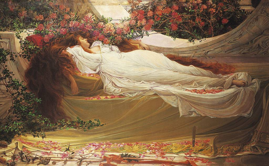 painting of a woman sleeping with long hair