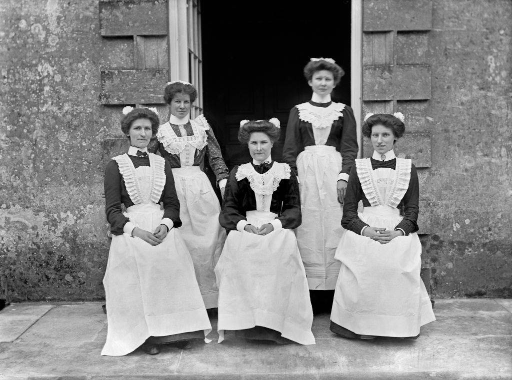 servants with their hair pushed back during the victorian era