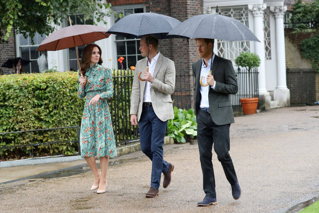 Kate, William and Harry Walking